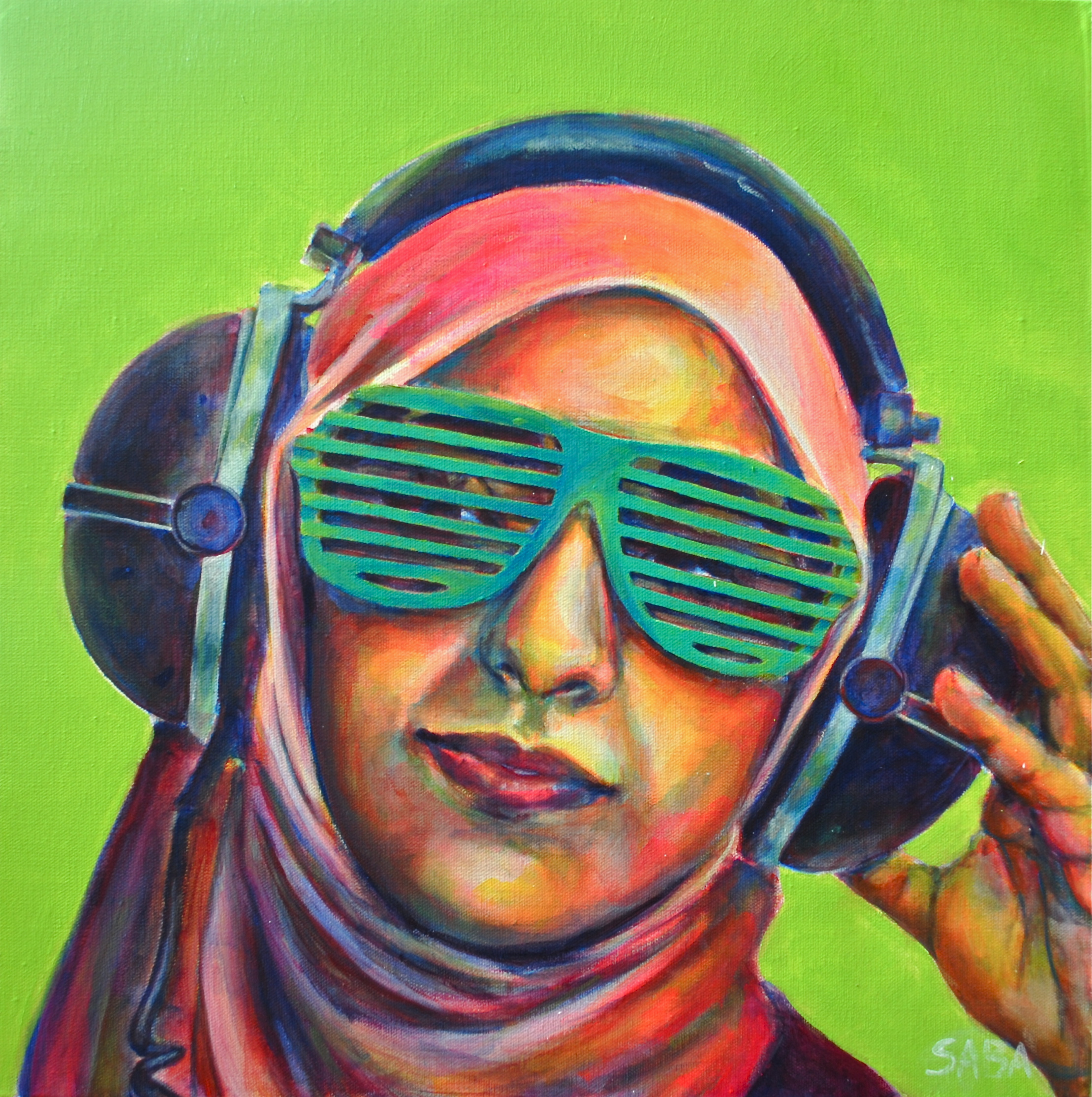 muslim hijabi woman in technicolor muslimah